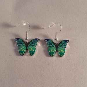 Silver Turquoise Green Blue Butterfly Earrings